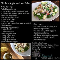 Chicken Apple Waldorf Salad.  For more delicious and REAL Food recipes check out www.facebook.com/staciesdietitianmission