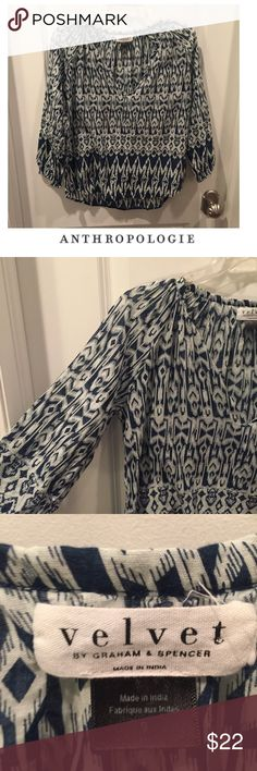 Anthropologie Velvet Brand Blue & White Tunic Top Anthropologie Velvet Brand Blue & White Tunic Top. 25 inches long. 18 inch bust. Meant to be a looser fit. Excellent condition. Feel free to make an offer or bundle & save. Anthropologie Tops Tunics