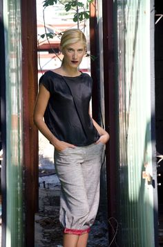 Black Silk Blouse with Asymmetric Draping by karmologyclinic