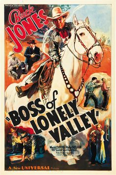 Boss of Lonely Valley 1937 Buck Jones Cult Western Movie Poster 24x36 Inches   eBay