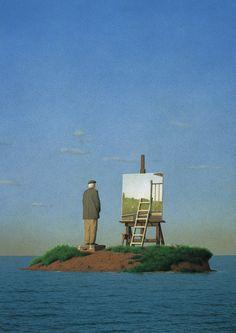 quint buchholz(1957- ), man on an island, 1989 http://www.quintbuchholz.de/en/pictures/all-pictures.html