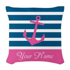 Pink Anchor On Stripe - Personalized Woven Throw P