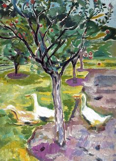Edvard Munch - Geese in an Orchard, 1911 - Museo Thyssen-Bornemisza Madrid Spain Edvard Munch, Raoul Dufy, Ernst Ludwig Kirchner, Van Gogh, Karl Schmidt Rottluff, Emil Nolde, August Macke, Dark Paintings, Franz Marc