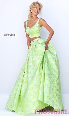 Two Piece Print V-Neck Long Prom Dress by Sherri Hill