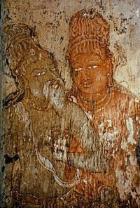The temple has Chola frescoes on the walls around the sanctum sanctorum portraying Shiva in action, destroying demonic forts, dancing and sending a white elephant to transport a devotee to heaven.
