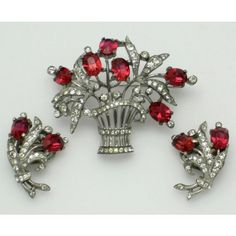 TRIFARI STERLING SET Alfred Philippe Flower Basket Brooch Earrings... ❤ liked on Polyvore featuring jewelry, trifari jewelry, vintage rhinestone jewelry, vintage flower jewelry, rhinestone crown and trifari
