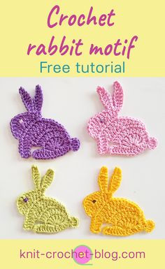 Next Previous Crochet bunny rabbit applique motifs. The way to crochet a rabbit appliquee. Step-by-step tutorial. Crochet a cute bunny rabbit applique motif for Easter or for children's items. Step by step instructions on video and a close-up photo of the Appliques Au Crochet, Crochet Applique Patterns Free, Easter Crochet Patterns, Crochet Motifs, Crochet Crafts, Crochet Stitches, Crochet Projects, Free Pattern, Knitting Patterns