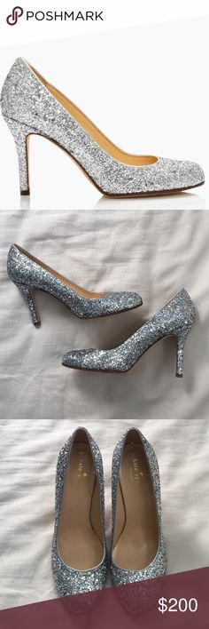 "Like New • Kate Spade glitter Karolina heels Gorgeous Kate Spade silver glitter Karolina style pumps. Size 6.5. Made in Italy. 3.1"" heel. Like new condition. Little to no wear on heels, very minimal wear on sole. No box or dust bag but I will package so that they stay nice and safe. kate spade Shoes Heels"