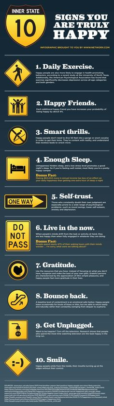 10 Signs That You Are Truly Happy #flowchart #flowchart #infographicgraphic