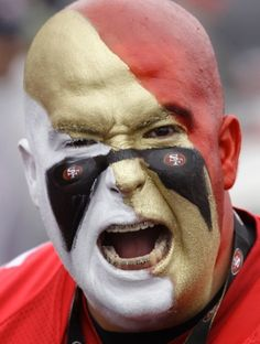 Always put on your game face! 49ers Game, Nfl Fantasy, Game Face, San Francisco 49ers, Paint Ideas, Put On, Halloween Costumes, Halloween Face Makeup, Fans