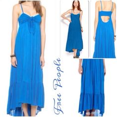 ☀️Summer Sale☀️ Free People Tubular Cobalt Dress Perfect Summer dress with a playful knotted front and back-baring cut- out back, perfect for a breezy beach day, fully lined, rayon, hi- Lo hem, adjustable spaghetti straps, pull- over style.. Free People Dresses