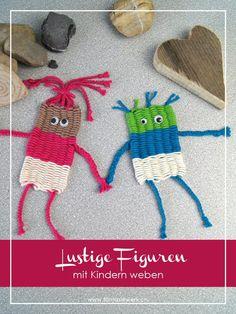 Lustige Figuren mit Kindern weben – mit Strohhalmen Funny figures with children weave – with straws – fantasy plant Straw Weaving, Weaving For Kids, Weaving Art, Loom Weaving, Yarn Crafts, Diy And Crafts, Arts And Crafts, Creative Crafts, Weaving Projects