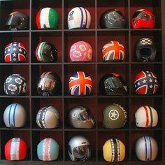 Shelf full of style Helmet Shop, Cafe Racer Helmet, Cafe Racer Motorcycle, Motorcycle Garage, Motorcycle Helmets, Harley Davidson, Helmet Design, Biker Style, Diy Organization