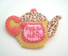Teapot Felt Brooch Pin Personalised Pink cream Handmade UK Seller .. 2015 - 2016 http://profotolib.com/picture.php?/41184/category/1702
