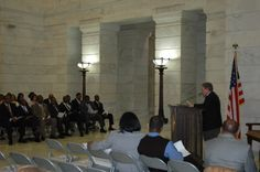 Past & Present Arkansas African American Legislators, 2/11/2014, Arkansas State Capitol. Dr. John Graves of the Black History Commission offers remarks on the Curtis H. Sykes Memorial Grant Program, which offers grants to fund projects related to African American history in Arkansas.