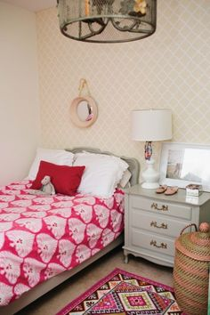 Such a cute girls room - love the chandelier! eclecticallyvintage.com