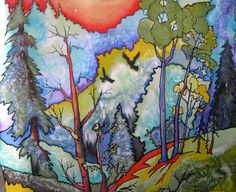 Silk painting. Fauve Forest by swiftriversstudio on Etsy, $75.00