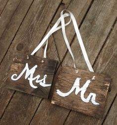 Mr and Mrs Rustic Wood Wedding Signs Reclaimed Wood Upcycle Eco Friendly Woodland Wedding Barn Wedding Outdoor on Etsy, $20.00