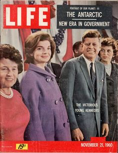 "Front cover of Life magazine dated November 21, 1960: ""The Victorious Young Kennedys."" Featuring president-elect John F. Kennedy and a pregnant Jacqueline Kennedy in a purple coat."
