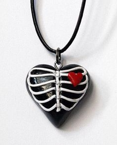 Come @Sneak Attacks this fun new shop! Sweet Polymer Clay Heart Ribcage Pendant by ICameForTheCake #handmade on #Etsy