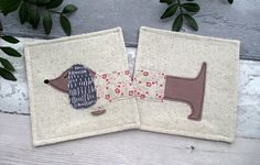 Dachshund Coasters, Drink Coasters, Dachshund Gift, Fabric Coaster, Sausage Dog Gift, Birthday Gift, Gift For Her, Dog Coasters
