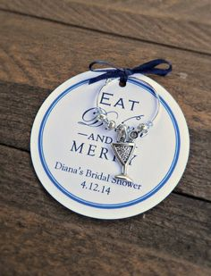 custom wedding bridal shower wine charm favors eat drink be merry