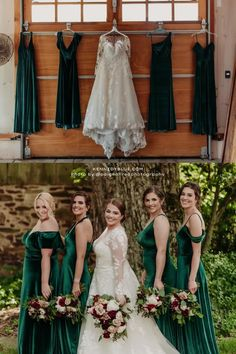 These beautiful ladies are wearing mismatched bridesmaid dresses in the color 'Emerald' from Kennedy Blue. The dresses are made from velvet material in the styles Keely, Mila, Skylar, Evelyn. Shop for more bridesmaid dresses in Kennedy Blue! // green bridesmaid dress // unique velvet bridesmaid dress // velvet green dress // garden wedding // elegant velvet bridesmaid dress // deep emerald green wedding // mix and match bridal party // mismatched bridesmaid dresses Emerald Green Bridesmaid Dresses, Velvet Bridesmaid Dresses, Emerald Green Weddings, Affordable Bridesmaid Dresses, Mismatched Bridesmaid Dresses, Unique Dresses, Wedding Dresses, Party Looks, Green Dress