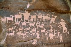 A close view of a petroglyph found in Nine Mile Canyon