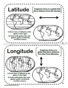 Latitude and Longitude Maps and Globes - A Printable Book for Introducing Map Skills Geography Activities, Geography For Kids, Geography Lessons, Teaching Geography, Teaching History, History Education, Teaching Resources, Teaching Map Skills, Geography Worksheets