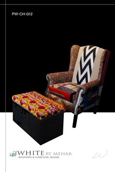 Patchwork armchair with footstool