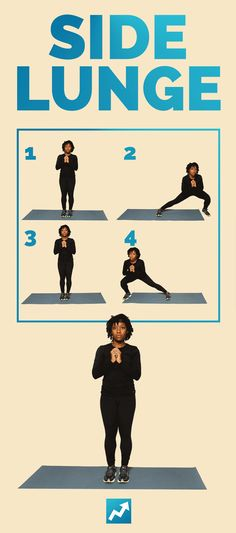 Side Lunge | The Only 12 Exercises You Need To Get In Shape http://www.buzzfeed.com/sallytamarkin/get-fit-bodyweight-exercises?bffb&utm_term=4ldqpgx#4ldqpgx