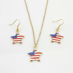 This star-shaped American Flag necklace and earrings set is one of a kind!  Material: Alloy in gold tone; Enamel