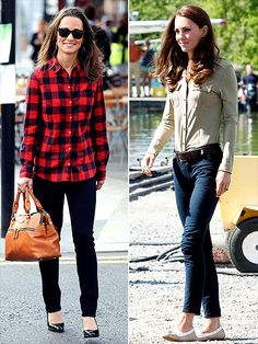 July 2011 - BUTTON IT: When it comes to dressing down, Pippa keeps it cool in a plaid flannel shirt, black stovepipes, patent heels and wayfarers, while Kate sticks to the classics in her J Brand skinnies with a tucked-in top and Sebago boat shoes.