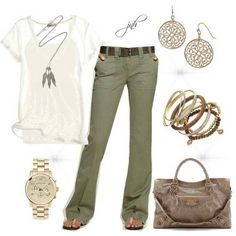 A great cargo pant, white shirt and some great accessories!