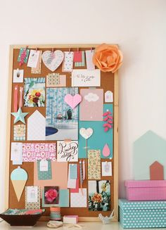 Bright mood board. Inspiration for cork and pastels.