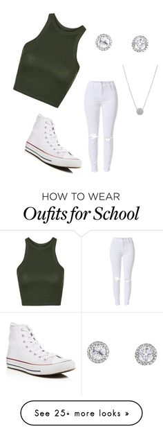 """Everyday high school look!❤️"" by graciegoo23 on Polyvore featuring Topshop and Converse"