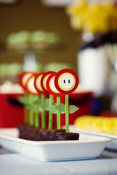 Mario party ideas - fire flower brownies