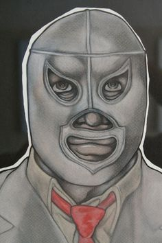 El Santo charcoal and chalk pastel by ignaciosalinas on Etsy, $55.00