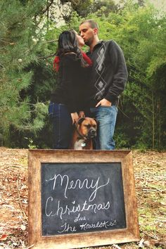 Couple Christmas photography with dog.