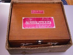 VINTAGE Shark  110-E Chassis Punch Set Original Wood Box Sanki Lafayette Radio #Sanki