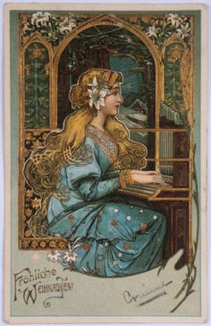 Antique Postcard German Christmas Art Nouveau Lady Playing Organ Gold Stamped