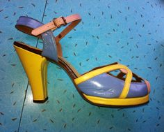 1940s platform shoes with interesting color combo of yellow, pink, blue & green. Sold these beauties to a lucky gal in Europe ;)