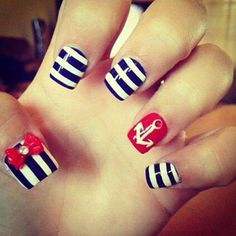 We love this nail look!!  #nails #style #sailor #rockabilly #vintage #summer #pinup #rockabilly #lindybop