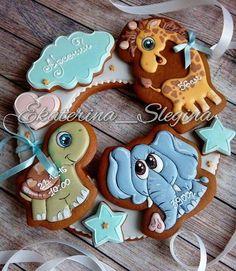 Elephant giraffe turtle baby cookies