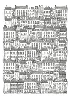 Art Print // Townhouses Illustration // Signed and dated