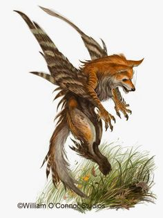 The enfield is a cross between a raptor and a fox; in the setting of my story they are seen both in the wild and as pets.