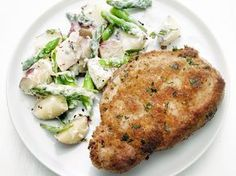 Mustard-Crusted Pork Chops with Asparagus-Potato Salad recipe from Food Network Kitchen via Food Network