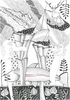 Norway, graphics, fjords, trout, trolls Black And White Drawing, My Black, Trout, Norway, Graphics, Drawings, Graphic Design, Brown Trout, Sketches