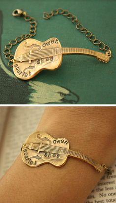 Personalized guitar bracelet