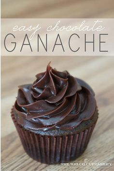 Easy Chocolate Ganache recipe via The Welch Cupcakery. My first attempt turned out very good.